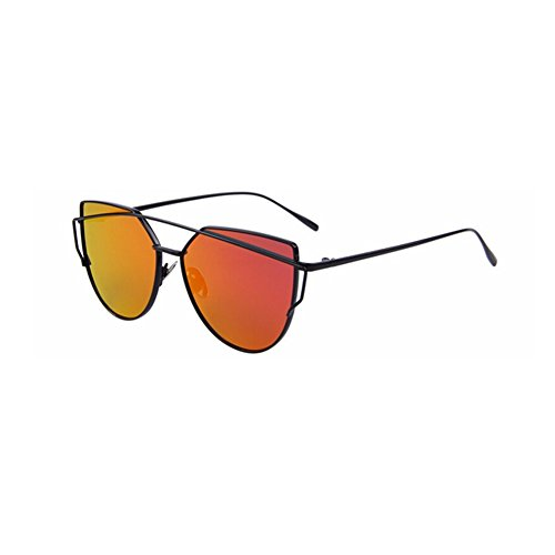 Fashion Women Cat Eye Sunglasses Classic Brand Designer Twin-Beams Sunglasses Coating Mirror Flat Panel - Jon Glasses Lil