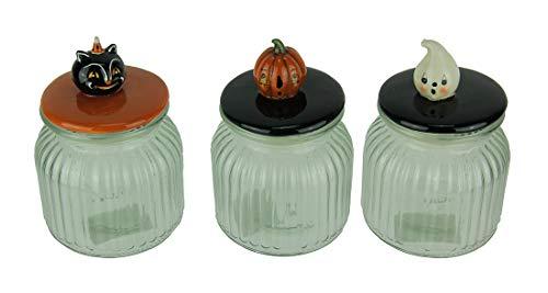 Transpac Glass Decorative Jars Set of 3 Pumpkin Peeps Vintage Look Halloween Glass Jars 4.25 X 6 X 4.25 Inches Multicolored