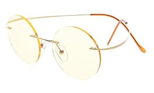 f1512679852 Eyekepper Titanium Rimless Round Yellow Tinted Lenses Computer Reading  Glasses Circle Readers (Gold