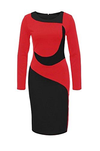 La Mujer De Manga Larga Vestido Bodycon Patchwork Lápiz Oficina Red