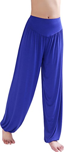 HOEREV Super Soft Modal Spandex Harem Yoga/ Pilates Pants, Royalblue, Large]()