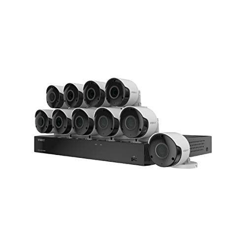 Wisenet SDH-C85105BF 16 Channel Super HD DVR Video Security System with 2TB Hard Drive and 10 5MP Weather Resistant Bullet Cameras (SDC-89445BF) (Renewed) (Samsung Surveillance System)