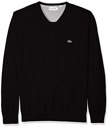 Lacoste Men's Long Sleeve Half Moon V Neck Jersey Sweater, Flour/Black, Small