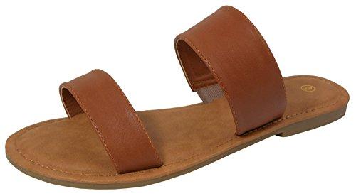 Cambridge Select Women's Two Strap Slip-On Flat Slide Sandal (9 B(M) US, Tan)