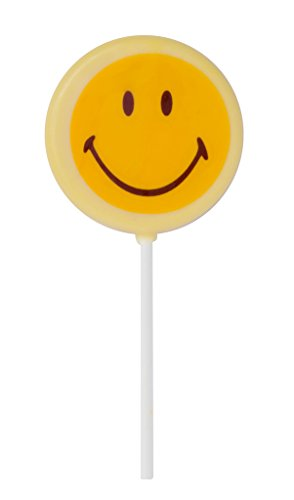 Smiley Face Lollipops - Smiley World Emoji Face Expressions Dairy White Chocolate Lollipops Sucker