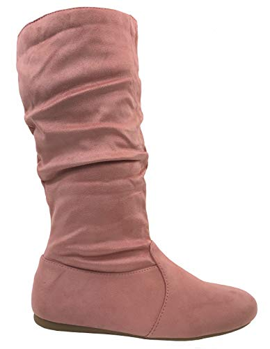 Wells Collection Womens Boots Soft Slouchy Flat to Low Heel Under Knee High, Dustypink, 7.5