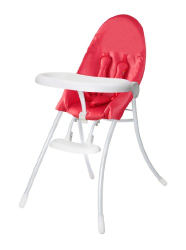 (Bloom Nano Flat-Fold/Foldable Baby High Chair - Matt White/Red)
