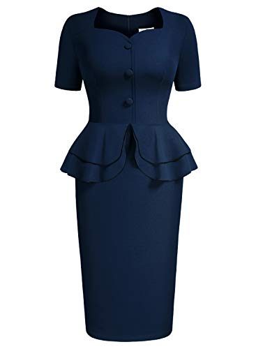 AISIZE Women 1940s Vintage Sweetheart Ruffles Peplum Dress Large Navy Blue