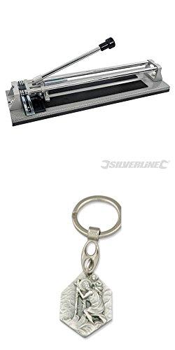 Fliesenschneider, 400 mm, Fliesenschneidemaschine, Schneidmaschine mit Anhänger Heiliger Christophorus