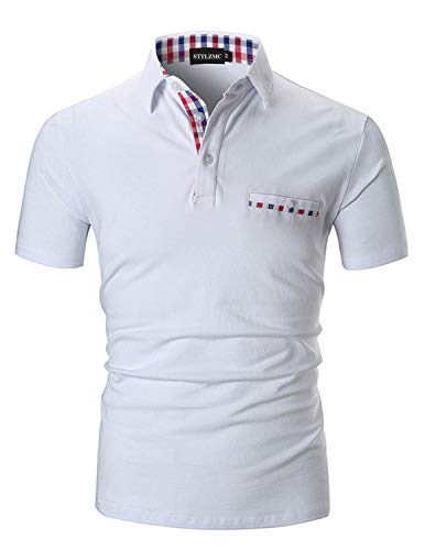 STTLZMC Polo Shirts for Men Short Sleeve Casual Fit Plaid Collar ()