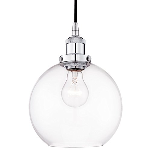 Revel Theia 8'' Transitional Pendant Light + Clear Glass Globe Shade, Chrome Finish by Kira Home