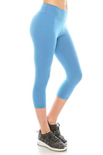 ALWAYS Women High Waisted Capri Leggings - Premium Buttery Soft Stretch Solid Basic Yoga Workout Pants Sky Blue Regular