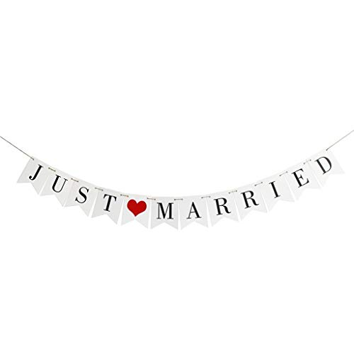 Pulison Wedding Banner Just Married Bride to Be Paper Banner Wedding Engagement Bridal Shower Party Decorations Photo Props ()
