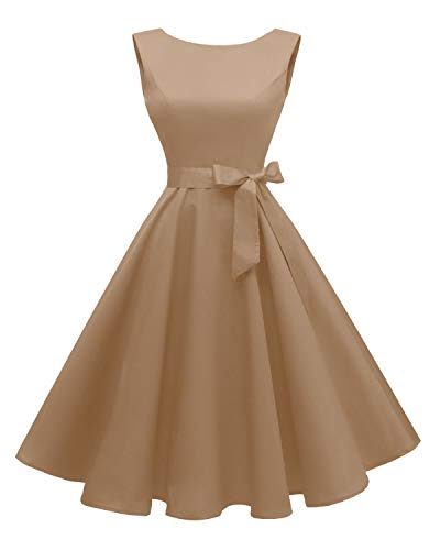 - Hanpceirs Women's Boatneck Sleeveless Swing Vintage 1950s Cocktail Dress Khaki 3X