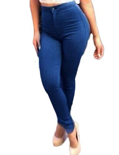 Couleur Jeans Femme Street pour Pantalon Unie YFLTZ Blue Chic YwHxq