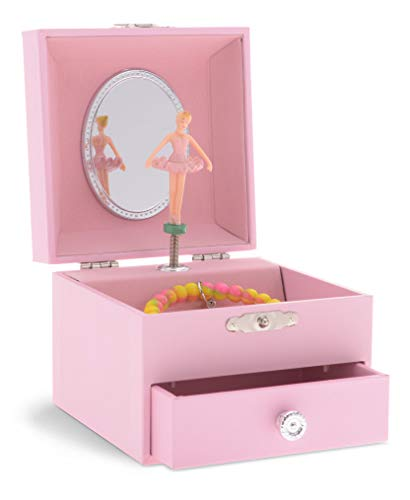 JewelKeeper Personalize-Your-Own Pink Musical Ballerina Jewelry Box with Pullout Drawer, You are My Sunshine Tune