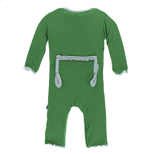 Kickee Pants Little Girls Solid Classic Ruffle Coverall with Zipper - Fern with Spring Sky, 0-3 Months ()