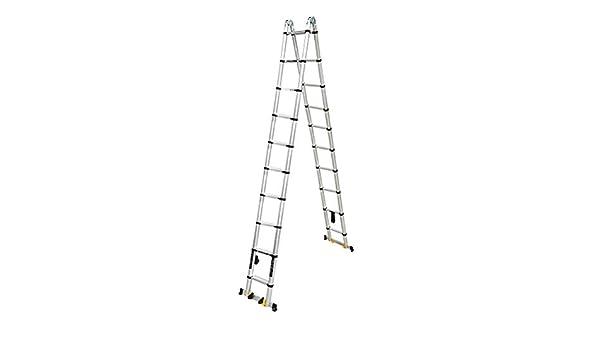 SYEA Escalera escamoteable Las escaleras Plegable telescópica, de Aluminio de extensión telescópica Escalera A-Frame, La Escalera telescópica de Usos Múltiples con Barra de Soporte, 440 LB Cargas: Amazon.es: Hogar