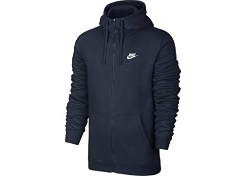 NIKE Mens Sportswear Full Zip Club Hooded Sweatshirt Obsidian Blue/White 804389-454 Size Large
