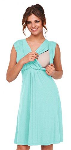 Happy Mama. Womens Maternity Nursing Skater Dress Sleeveless Layered Neck. 808p (Mint, US 12, 2XL)