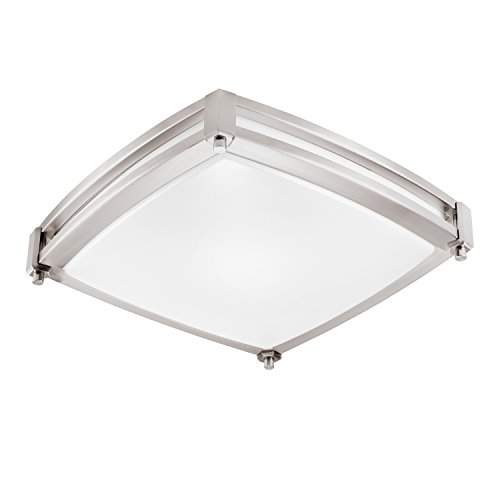 GetInLight LED Flush Mount Ceiling Light, 14-Inch, 20W(100W Equivalent), Brushed Nickel Finish, 3000K(Soft White), Dimmable, Square, Dry Location Rated, ETL Listed, IN-0317-2-SN