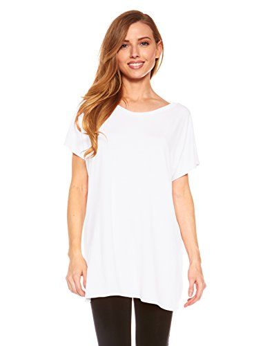 Red Hanger Women's Tunic Top Long Length With Loose Fit, Short Kimono Sleeve,(White-M)