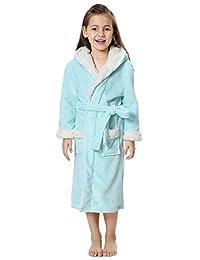 FLYCHEN Girls' Hooded Robe Bath Spa Fleece Loungewear Nightgown