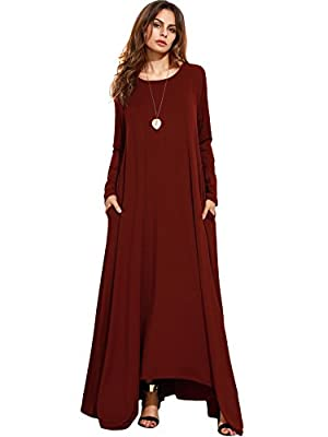MakeMeChic Women's Long Sleeve Casual Loose Pocket Maxi Long Party Dress