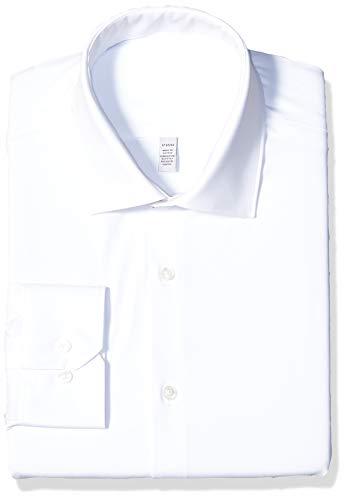Perry Ellis Men's Slim Fit Spread Collar Performance Dress Shirt, White Solid, 17 32/33 ()