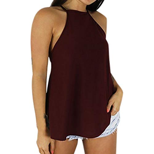 Outeck for Women Flowy Loose Beach Vacation Casual Hollow Halter Tank Top Blouse Solid Color Top Shirt (XL, Wine Red) ()