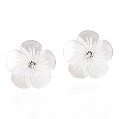 (Mother of Pearl White Plumeria Flower Carved .925 Sterling Silver Post Earrings)