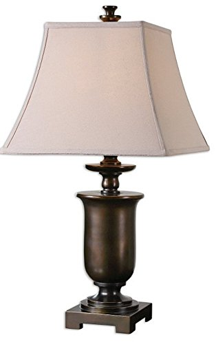 Uttermost 26499 Viggiano – 29″ One Light Table Lamp (Set of 2), Oil Rubbed Bronze/Gold Finish with Beige Linen Fabric Shade Review