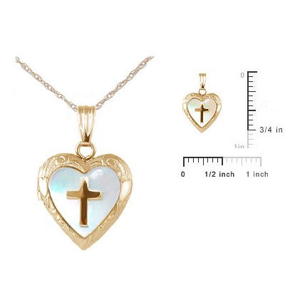 Child Jewelry - 14K Yellow Gold Mother of Pearl Cross Heart Locket Necklace (15 in) by Loveivy (Image #2)