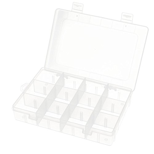 uxcell Adjustable 12/3 Slots Desktop Jewelry Storage Box Case Craft Bead Organizer Clear by uxcell