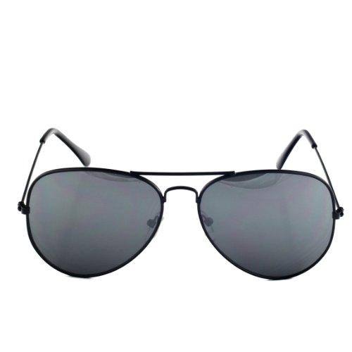 Premium Mirrored Aviator Top Gun Sunglasses w/ Spring Loaded Temples (All Silver (3-Pack))