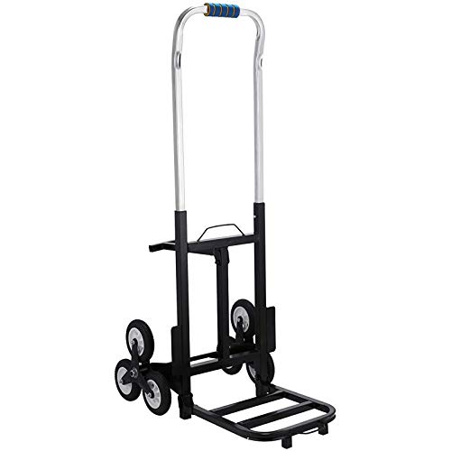 Mophorn 330LBS Portable Stair Climbing Cart 44.5 Inch Folding Cart Climb Hand Truck All Terrain Stair Climbing Hand Truck Heavy Duty 2 X Three-Wheel