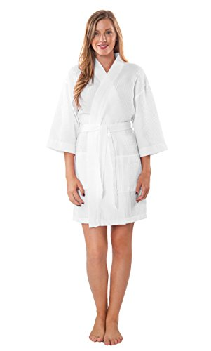 Turquaz Linen Lightweight Knee Length Waffle Kimono Bridesmaids Spa Robe (Small/Medium, White)
