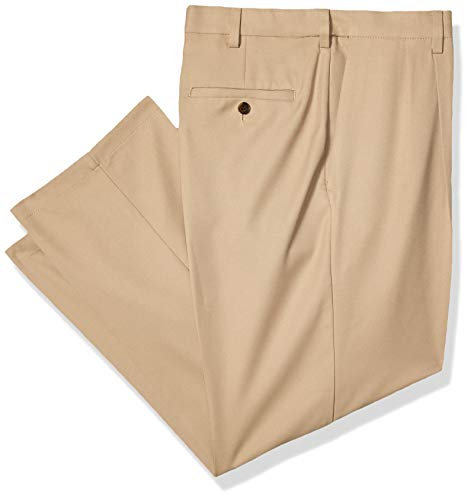 Haggar Men's Cool 18 Pro Classic Fit Pleat Front Expandable Waist Pant, Khaki, 36Wx32L (Pleat Two Pant)