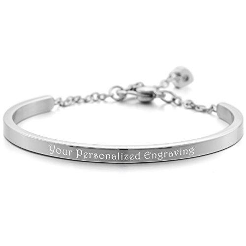 MeMeDIY Stainless Steel Bracelet Cuff Heart Adjustable - Customized Engraving