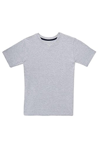 French Toast Little Boys' Short Sleeve V-Neck Tee, Heather Grey, 6 - Dyed Cotton Short Sleeve Tee