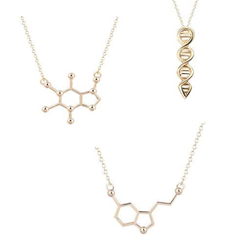 (Science Playhouse | Molecule Necklace Collection | 3 Science Pendants | Caffeine Molecule | Serotonin Molecule | DNA Double Helix Necklace (Gold))