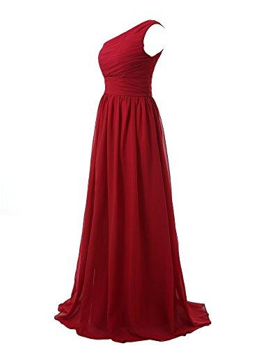 Long Gowns Bridesmaid Shoulder Chiffon Evening Kiss Women's One Dress Burgundy Dresses q4SwE