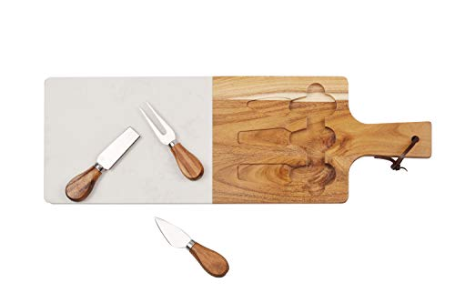 Jalz-Jalz Serving Cheese Board Marble with Acacia Wood set Stainless Steel Cheese Knives,Meat Server and Cutting Board Perfect Gift for Mom ()