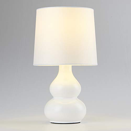 Mondaufie Ceramics Base Small Table Lamp with White Fabric Shade Bedside Table Desk Lamps for Bedroom,Living room,Office (Lamp Base White Table)