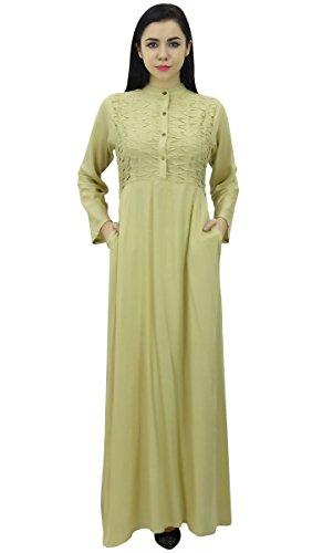 Beige robe de Bimba Muslim avec Maxi femmes Abaya pour Hizab FullSleeve Vtements cU1PU