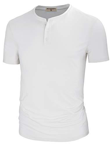 - Derminpro Men's Lightweight Regular Fit Short Sleeve Henley T-Shirts Solid Designed White Large