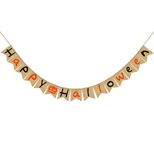 Happy Halloween Burlap Banner| Natural Burlap Halloween Banner | Rustic Halloween Decor| Halloween Party Decorations Supplies