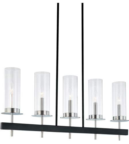 Sonneman Lighting 4065.54 Tuxedo 5-Light Island Light In Polished Chrome and Black