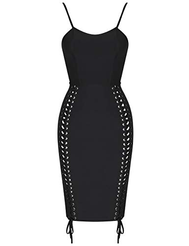 Celebrity Night Women Club Bodycon Whoinshop 's Lace Strap Black Bandage Evening Dress Up Spaghetti 0IqgdxqB
