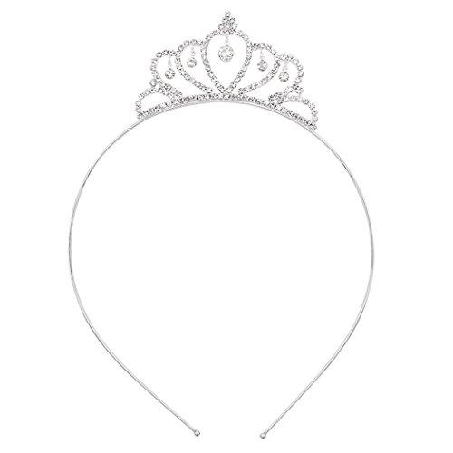 Rosemarie Collections Women's Marquee Style Crystal Rhinestone Princess Crown Tiara Headband ()